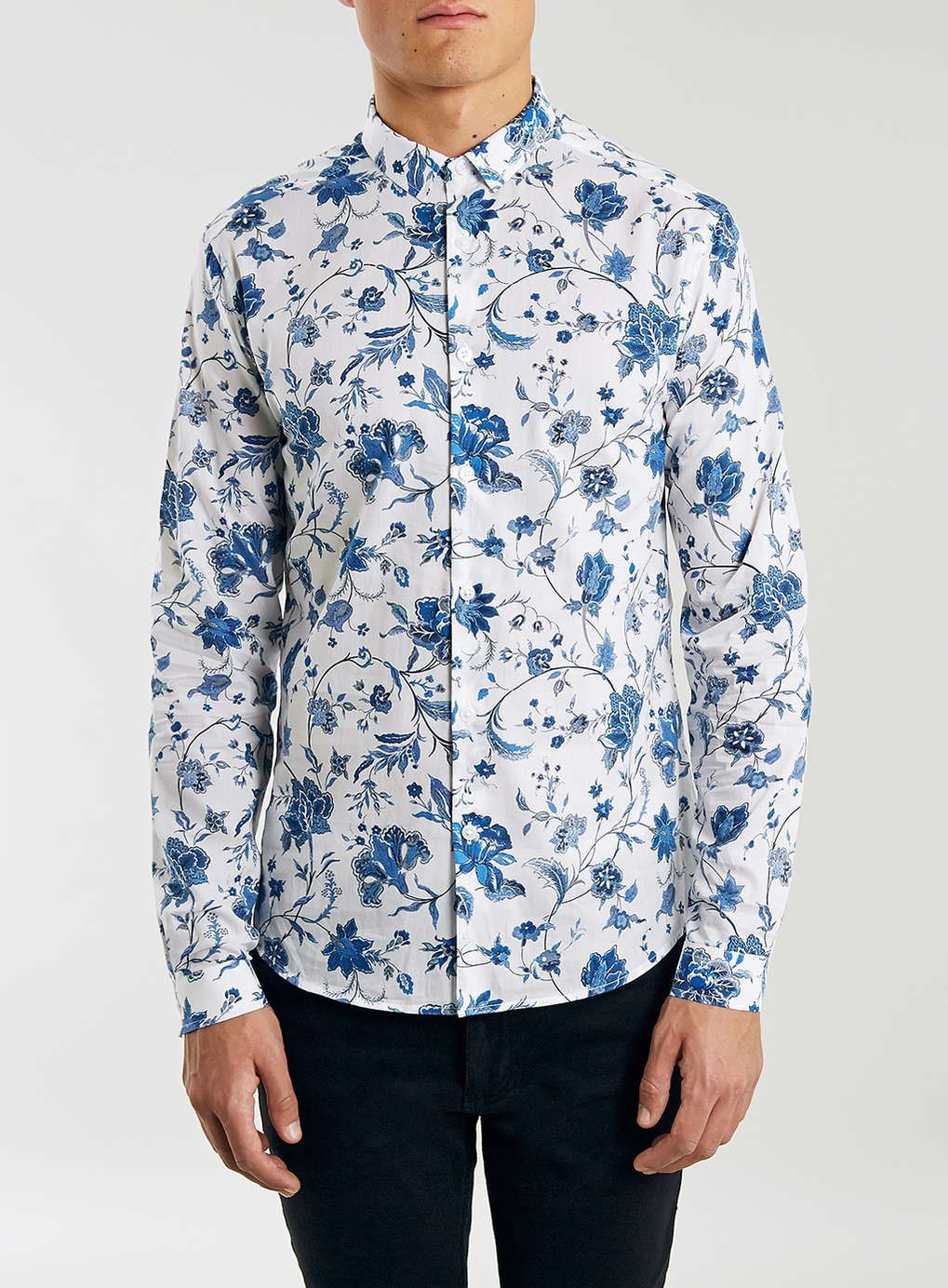 c5e177d9 Premium White And Blue Floral Print Shirt In Liberty Art Fabric - Topman