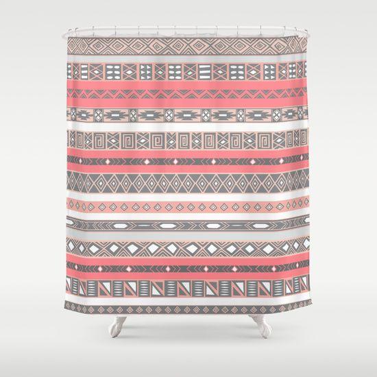 Shower Curtain Peach RoseGrey