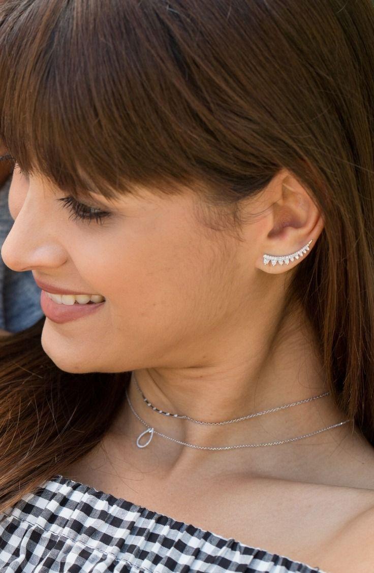 Earring Climbers 1 3 Ct Tw Diamonds 10k White Gold Kay Climber Earrings Earrings Ear Climbers Earrings
