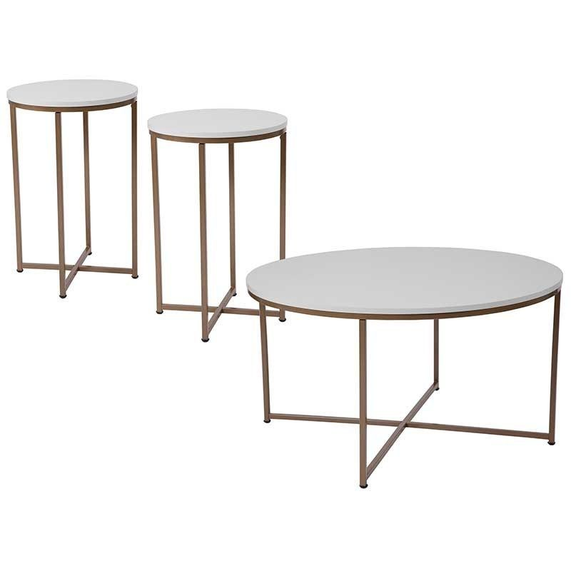 3 Piece Coffee And End Table Set In White With Matte Gold Frames