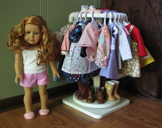 """Rotating Clothing Rack for American Girl or other 18"""" doll. via Etsy."""
