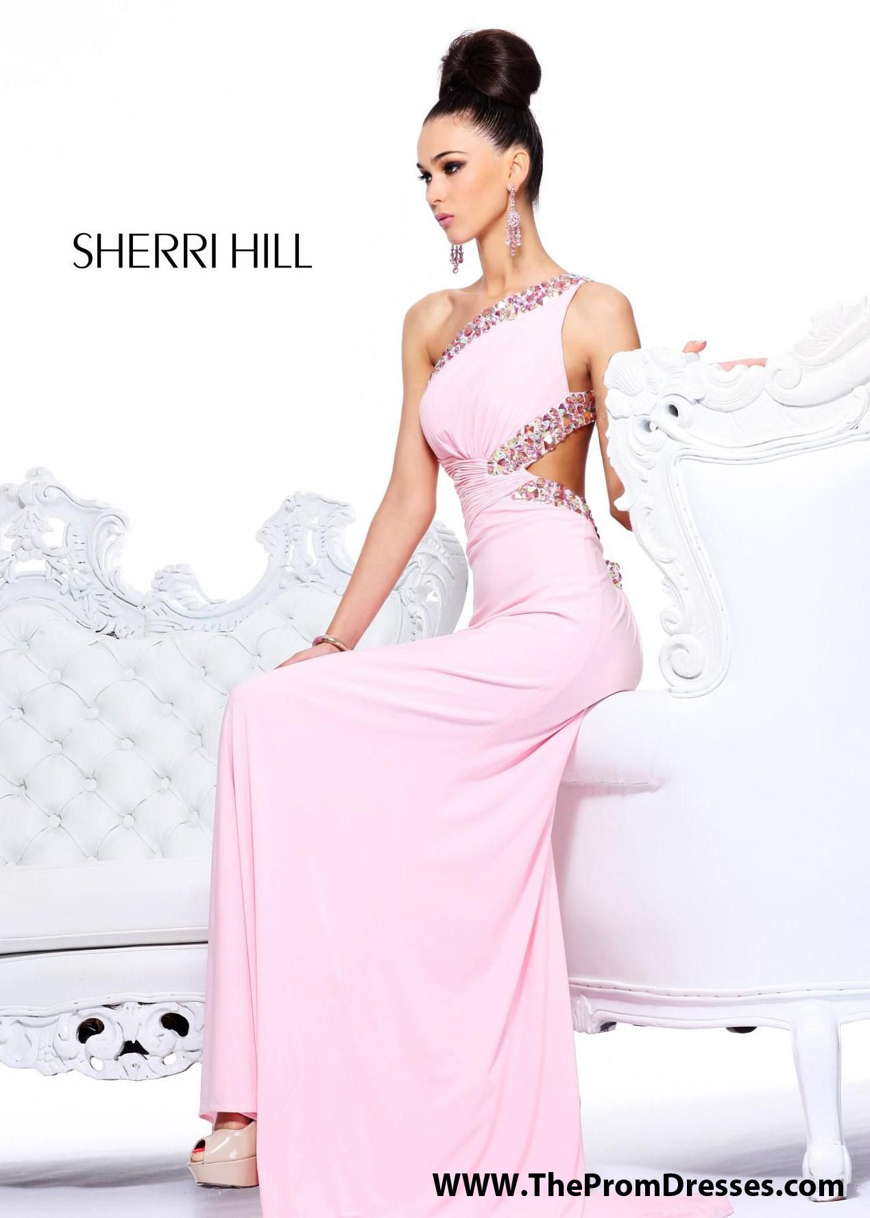 GORGEOUS One Shoulder Pink Prom Dress with an Open Back - Pink ...