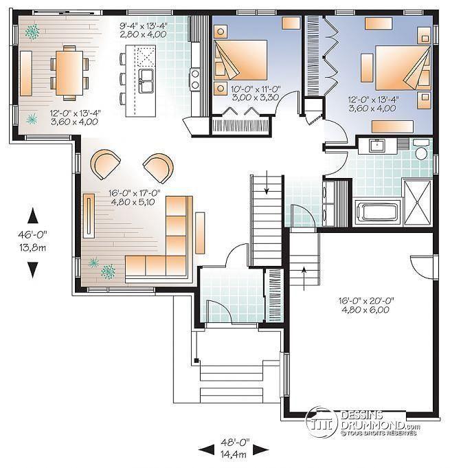 Idée relooking cuisine Plan de Rez-de-chaussée Modèle contemporain - idee de plan de maison
