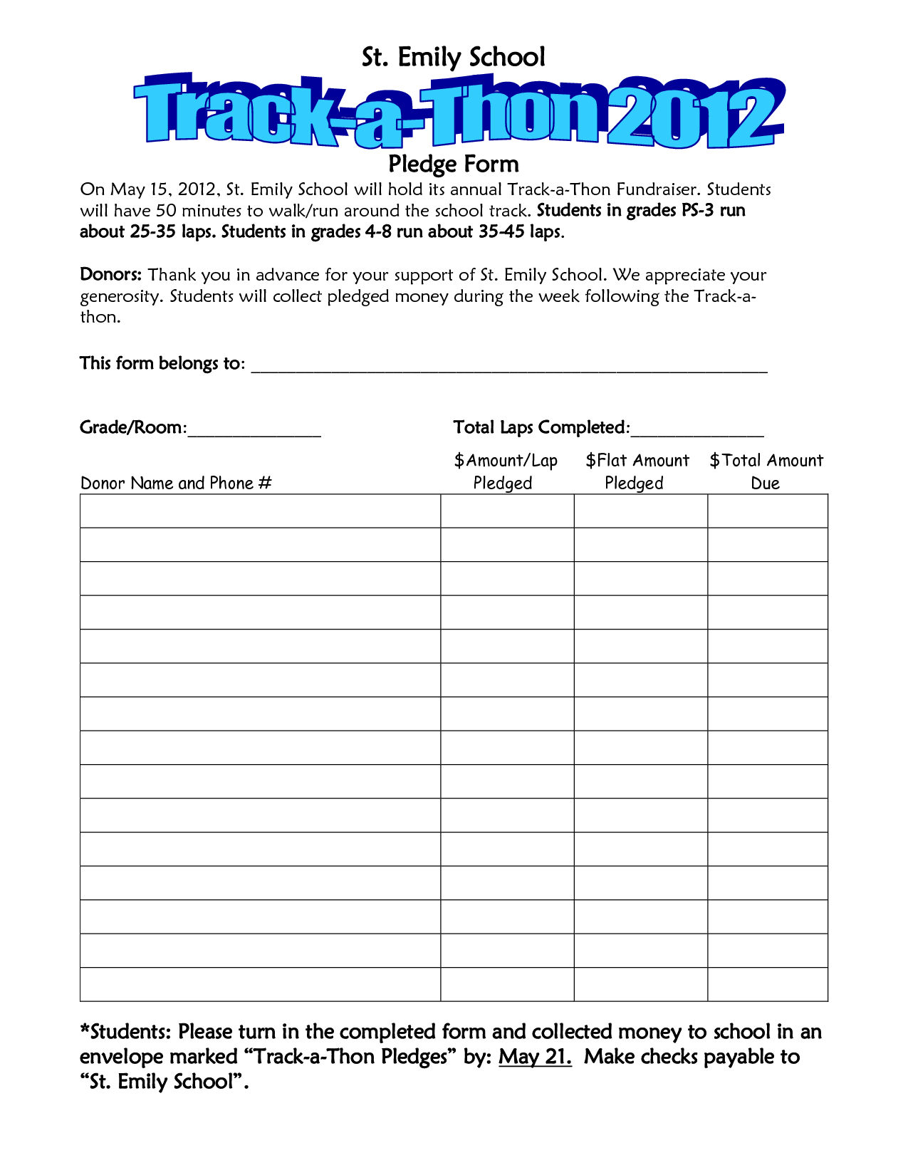 School Walk A Thon Pledge  Track A Thon Pledge Form  School