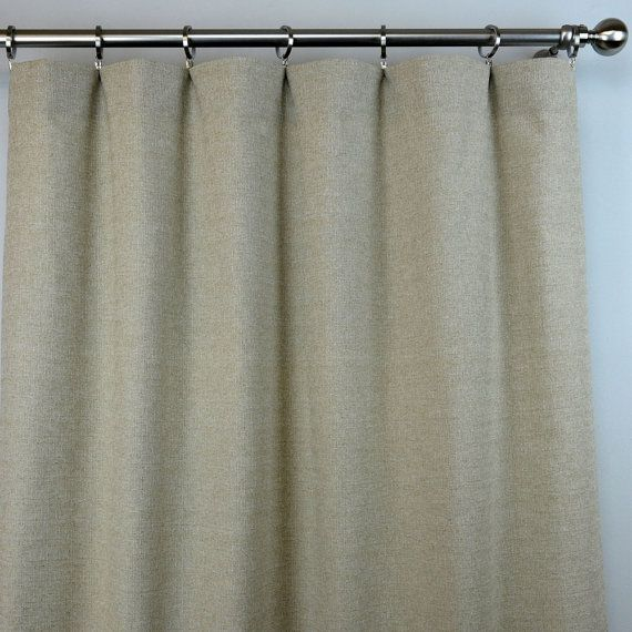 Pair Of Rod Pocket Curtains In Taupe Beige Ivory Solid Denton