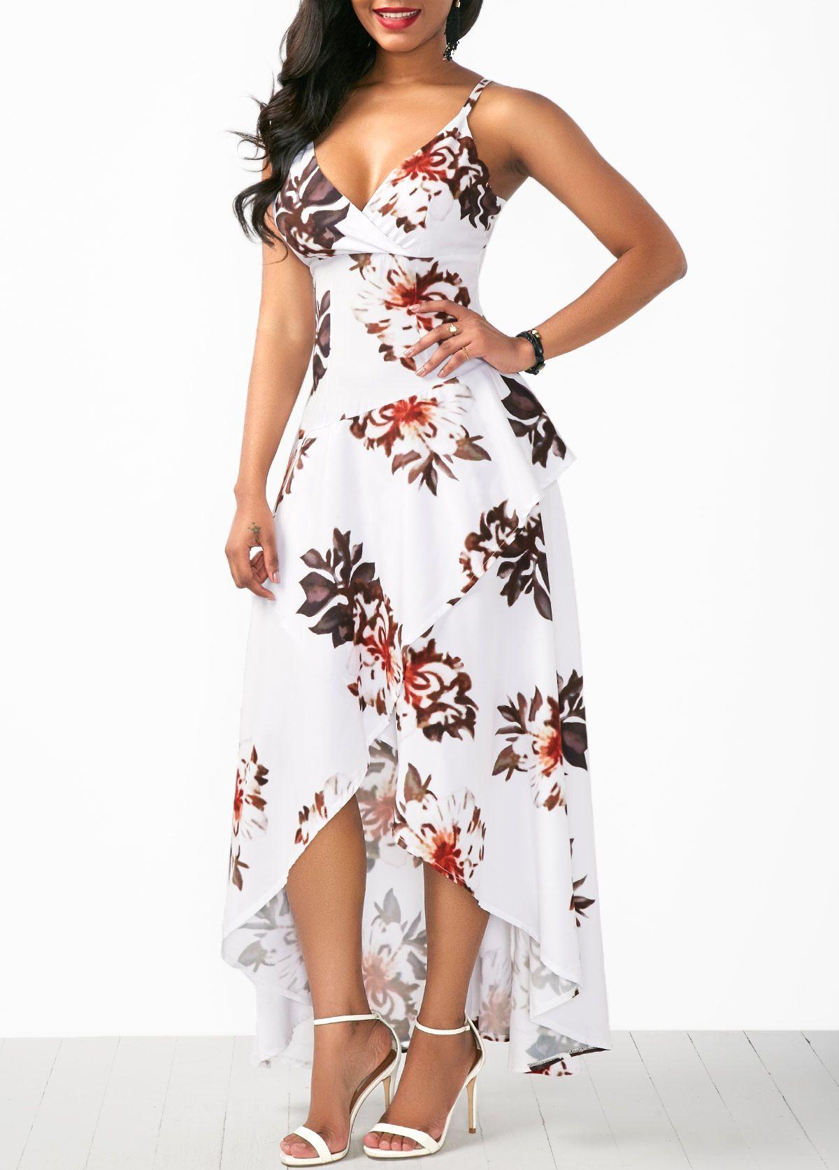 87603219a693 Asymmetric Hem Overlap Flower Print White Dress