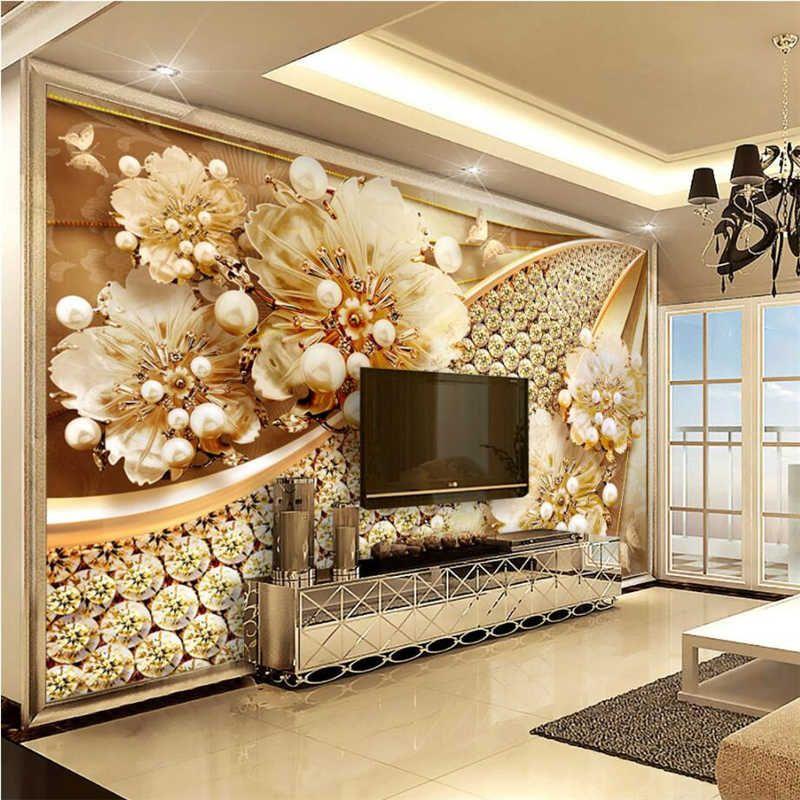 Papel Tapiz Personalizado Beibehang Muebles Para El Hogar Sala De Estar Dormitorio Tv Joyeria Al Aire Libre Papel Tapiz 3d De Pared Con Diamantes Con Flor En 2020 Decoracion De Glamour