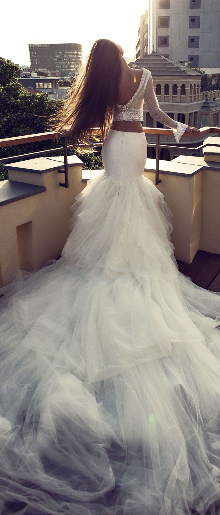 two pieces dramatic wedding dress. long sleeves cotton lace and open net top, handmade crystals work. net and silk skirt with tull layers and a dramatic extra long train  #weddingdress #weddinggown