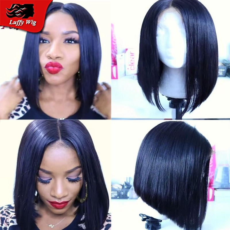 86.48$  Buy here - http://alib59.worldwells.pw/go.php?t=32365020722 - 2016 New Virgin Brazilian Short Human Hair Lace Front Wig Glueless Lacefront Wig Full Lace Short Human Hair Wigs For Black Women