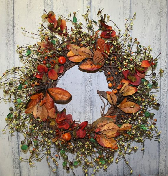 Autumn Twig Berry Wreath  Thanksgiving Wreath  by NaturesGlow, $49.00