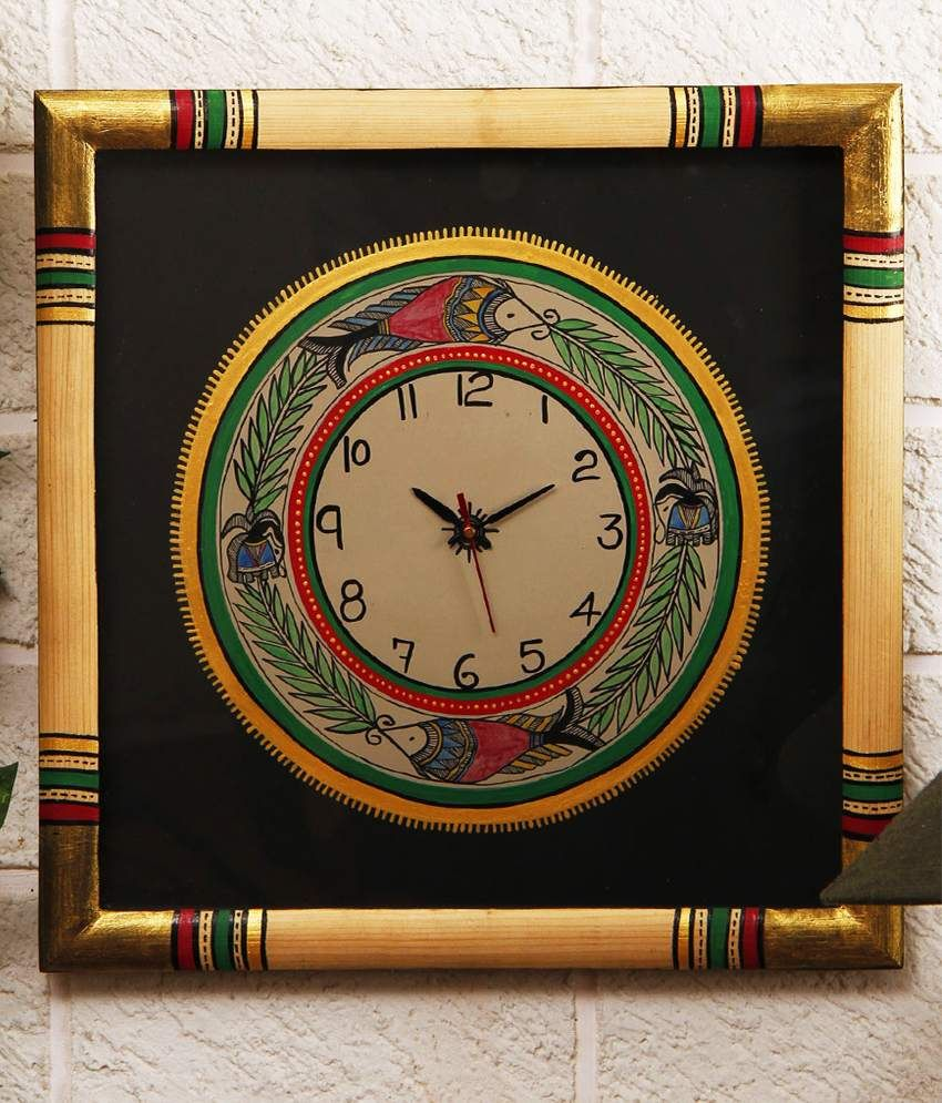 This product makes use of the madhubani art native to bihar the unravel india multi wooden border with wooden base wall clock amipublicfo Images