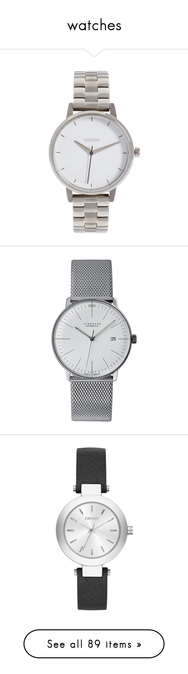 """""""watches"""" by lilybear115 ❤ liked on Polyvore featuring jewelry, watches, accessories, bezel bracelet, bracelet watches, silver jewellery, bracelet wrist watch, silver watches, stainless steel watches and wristwatches"""