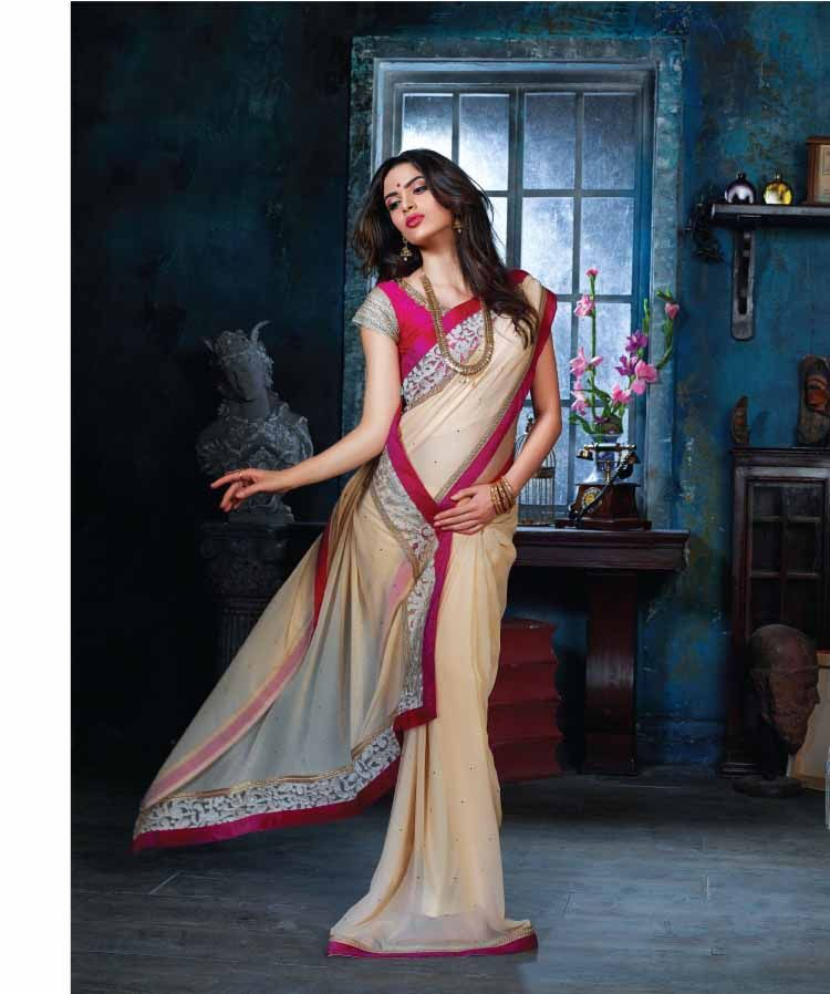 http://www.thatsend.com/shopping/lp/fvp/TESG242368/i/TE315468/iu/beige-chiffon-designer-saree  Beige Chiffon Designer Saree Apparel Pattern Embroidered. Work Embroidery. Blouse Piece Yes. Occasion Festive, Sangeet. Top Color Magenta.