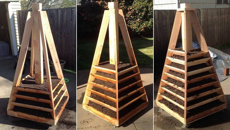 vertikaler pyramiden garten pflanzer diy vertikal pflanzenk bel und diy garten. Black Bedroom Furniture Sets. Home Design Ideas