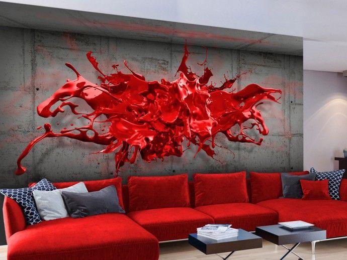 Papier peint moderne Red Ink Blot