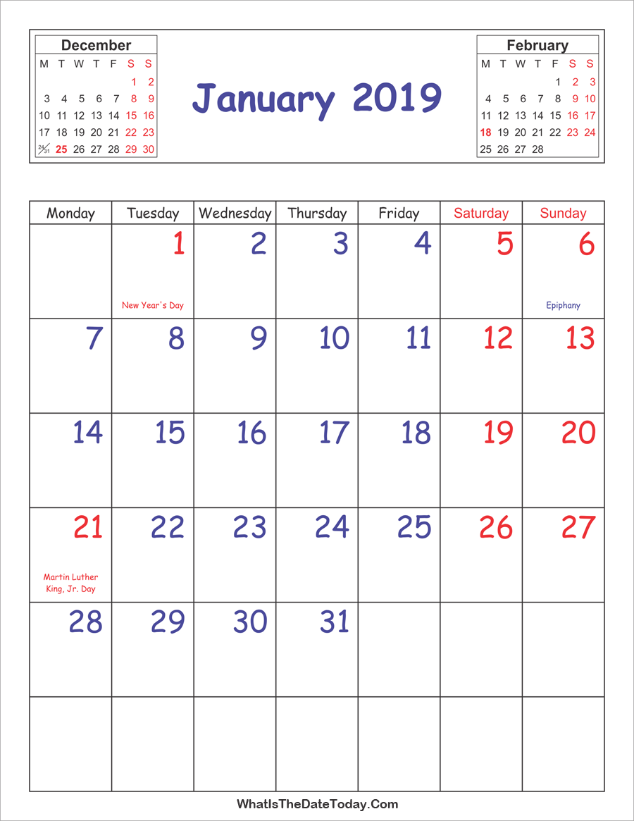 January Vertical Calendar 2019 January 2019 Calendar Vertical | Bullet journal | 2019 calendar