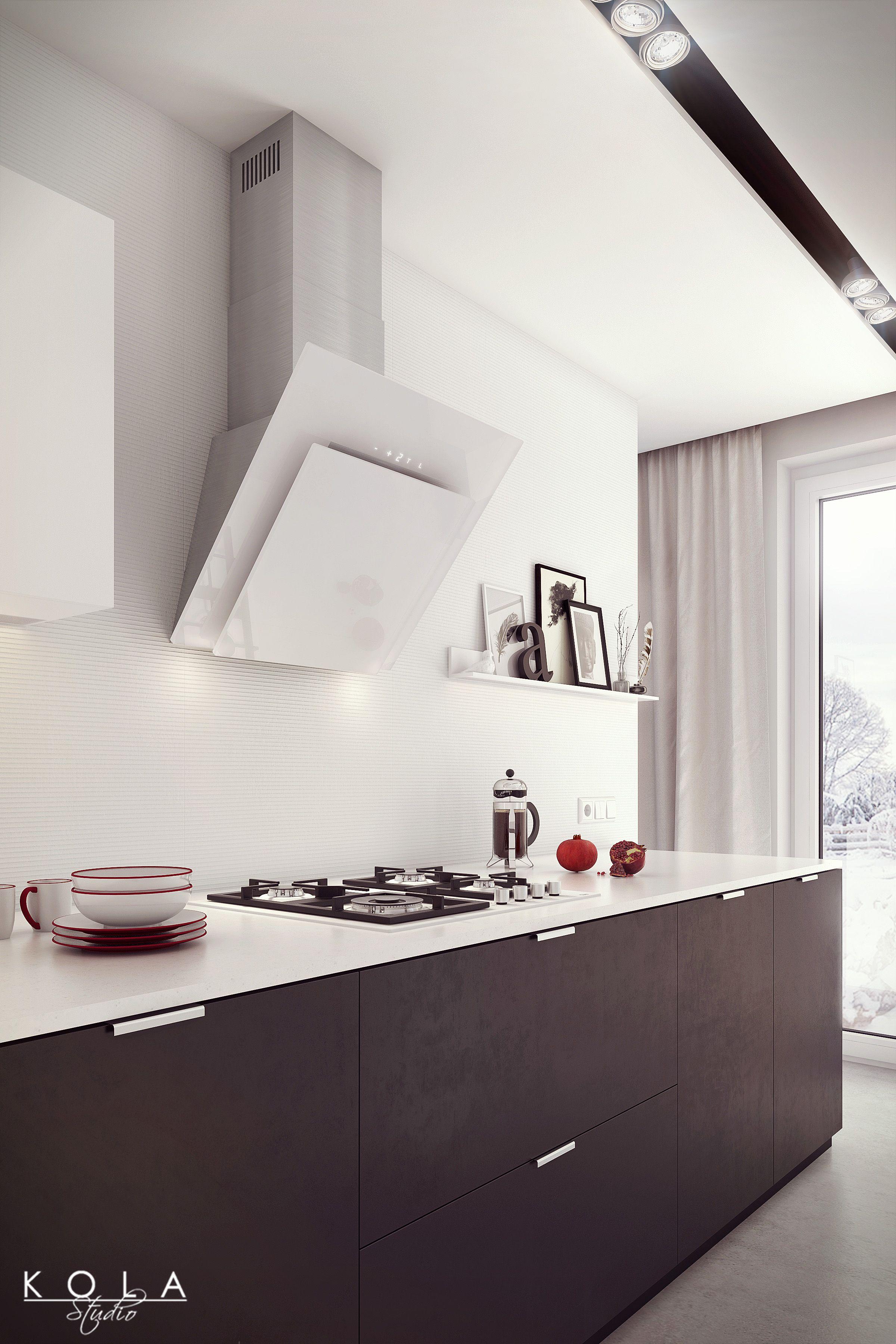Minimalist white kitchen visualization with Teka products - black ...