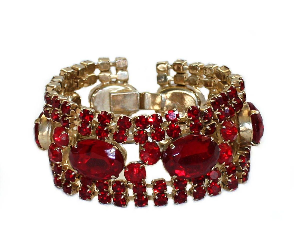 Vintage Red Rhinestone Bracelet 1950s Tail Jewelry Faceted Gl Formal Prom Gifts For Her By Liltreasuresantiques On Etsy