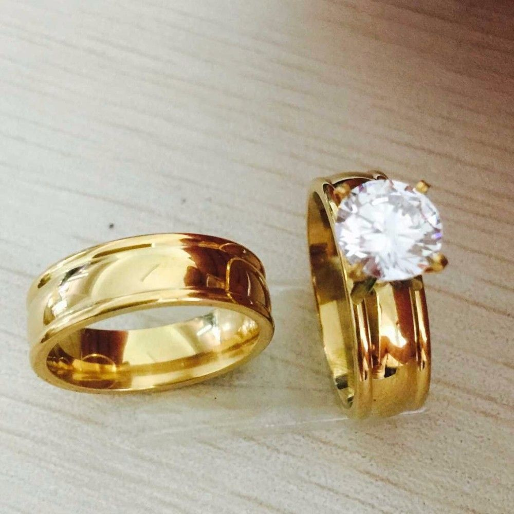 Large Cz Gold Filled Real Love Ring Wedding Rings Engagement Pair For Men Women