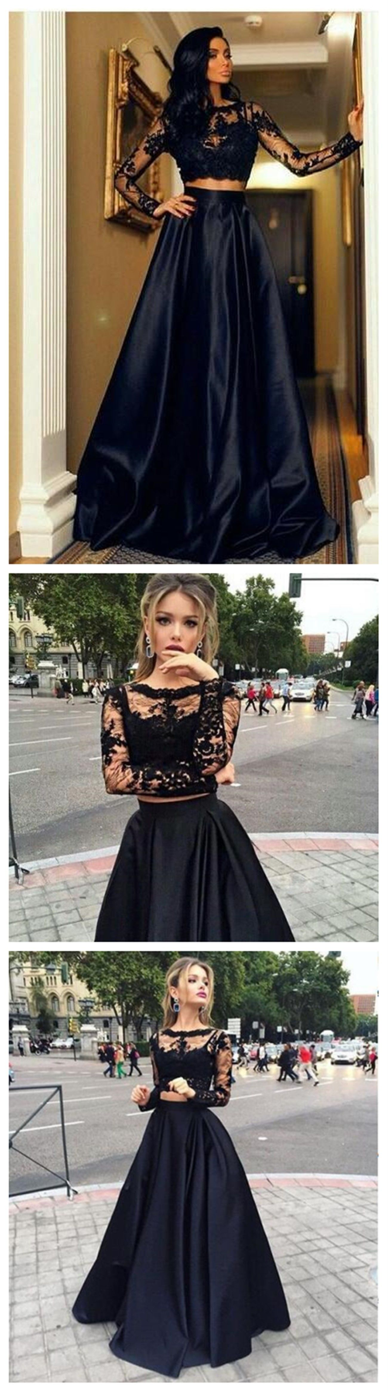 Sexy two pieces long sleeve navy lace evening prom dresses popular