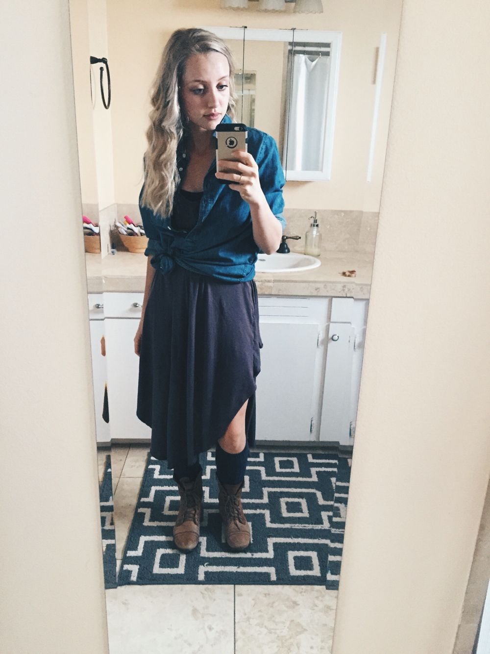 Dressember day gray dress free people chambray button up