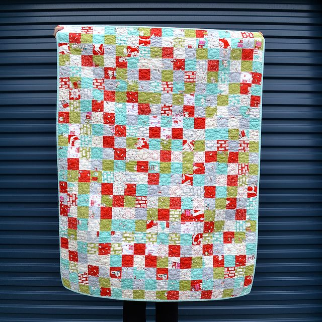 "Cheerful Christmas Leftovers quilt is perfect for the upcoming season! Made by Adrianne from On the Windy Side.   ""I used a loop the loop quilting pattern - following the grid of the quilt top helped keep it nice and even. Of course, I used my new go to thread - #Aurifil 2021 50 weight - for the quilting. T  To see more please visit http://thewindyside.blogspot.com/2013/11/christmas-leftovers-quilt-finished.html"