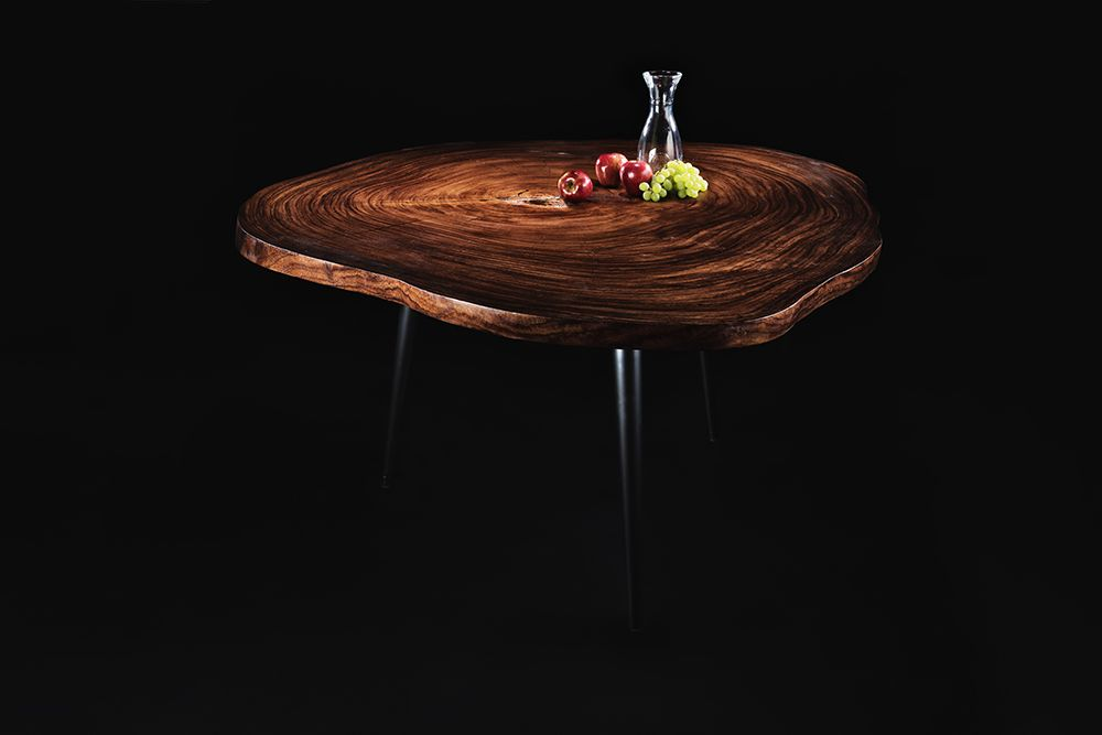 Handmade Parota wood slab table with metal legs by OSTROLUCKY