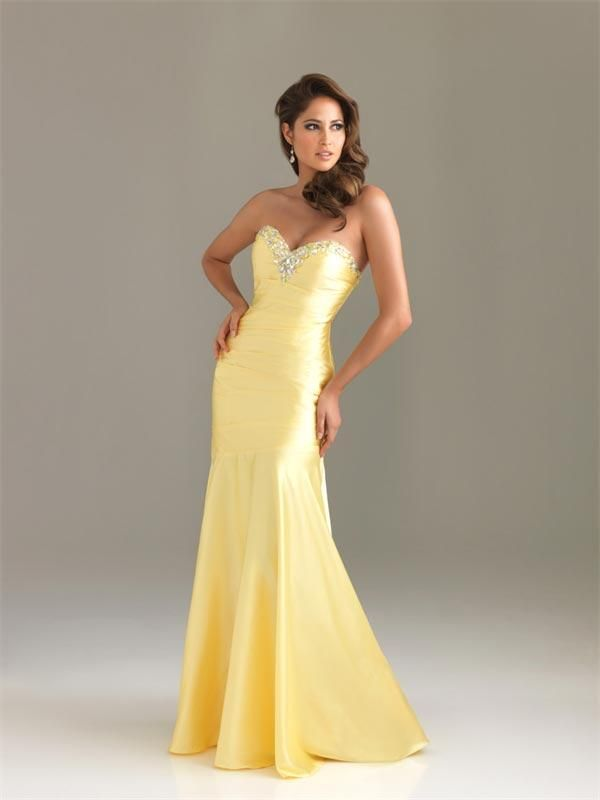 Yellow Prom Dresses | Yellow Prom Dresses Long Beaded Sheath Satin ...