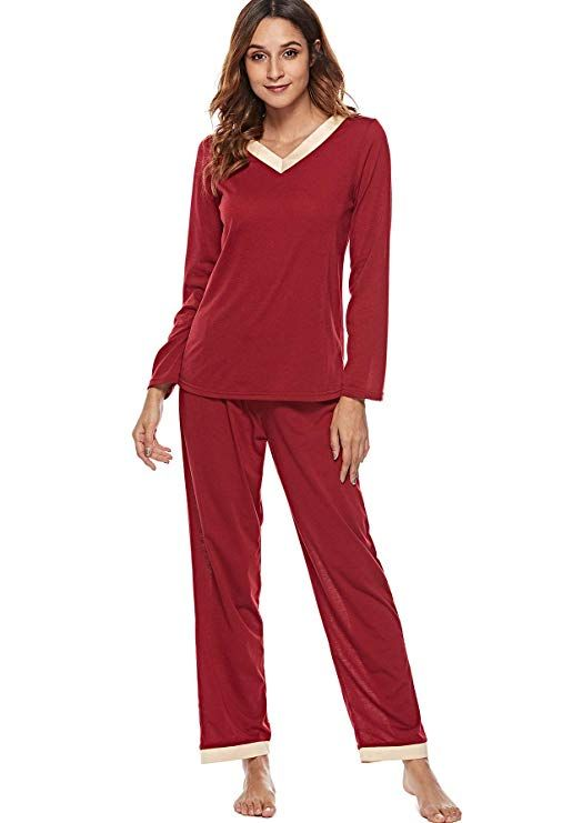 df06f307e775 Etosell Women s Pajamas Long Sleeves Lounge Wear PJ Sets Cotton Pjs  Sleepwear (Small