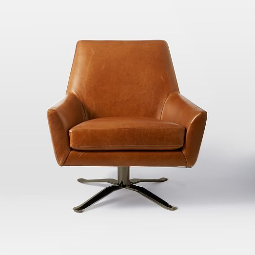 Lucas Leather Swivel Base Chair | West Elm $850 Saddle Leather