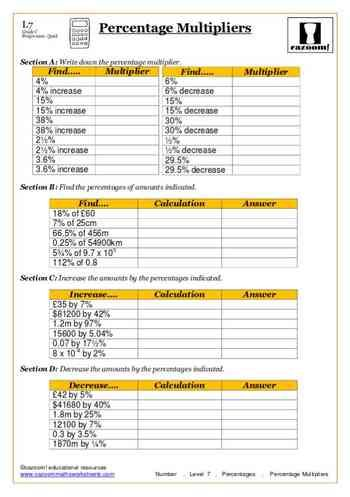 Percentage Multipliers Maths Worksheet Math Worksheet Printable Math Worksheets Math Sheets