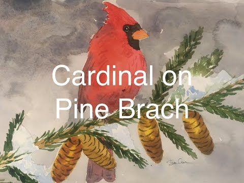 How To Paint A Cardinal In Watercolour Watercolor Winter Pine