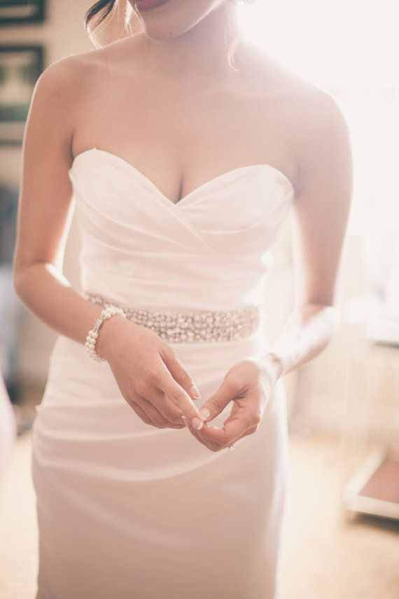 Bridal Couture Rhinestone Wedding Gown Sash Belt by LillyKnots | My ...