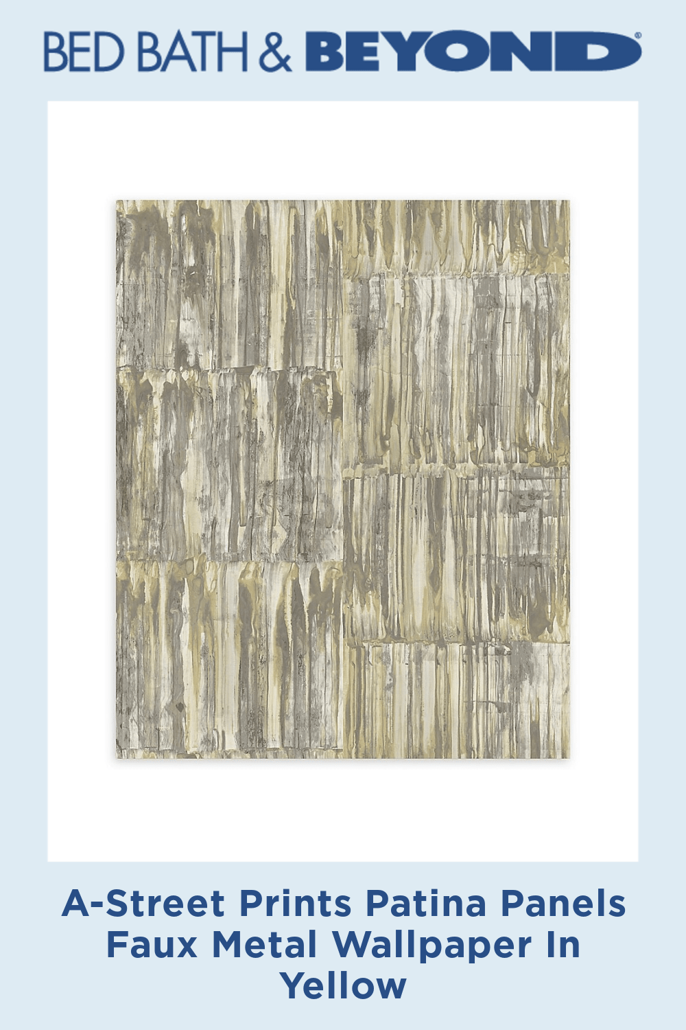 A-Street Prints Patina Panels Faux Metal Wallpaper In Yellow