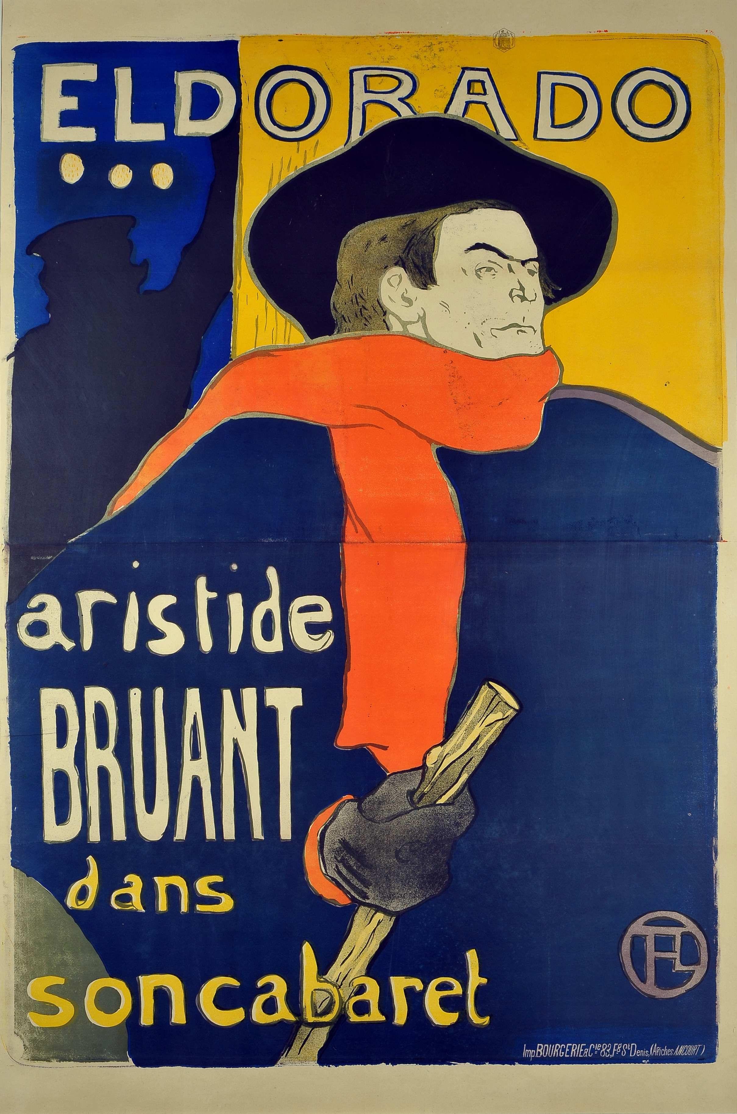 Henri Toulouse-Lautrec, Eldorado... Aristide Bruant dans son Cabaret, 1892,  Color Lithograph