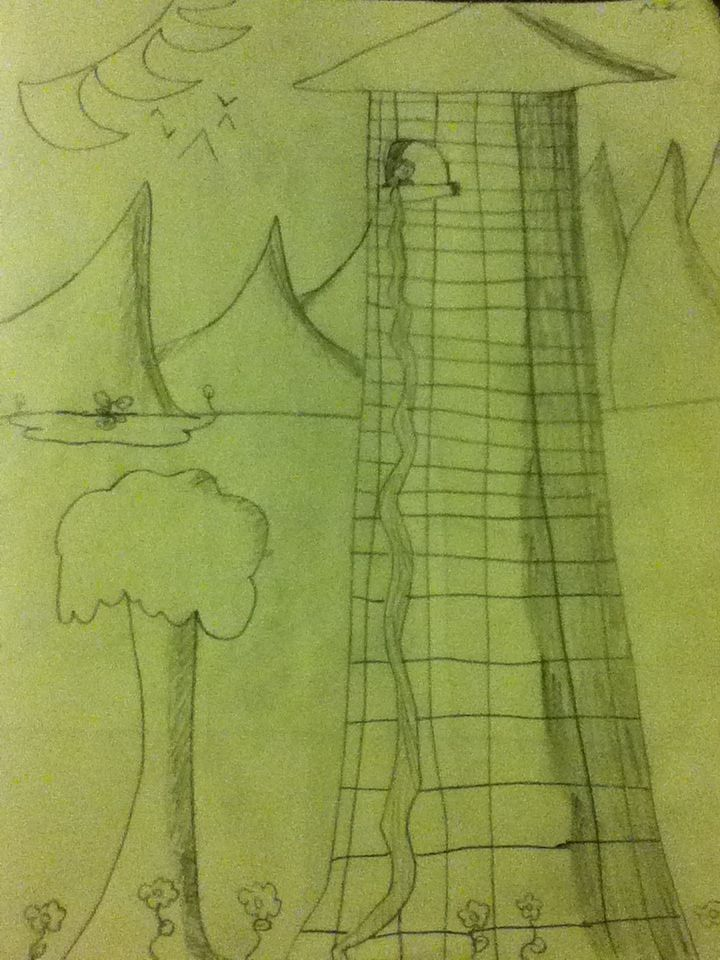 I couldn't sleep…so I drew Rapunzel's tower! I will color as soon as I can! (5 likes for a close-up of Rapunzel!)