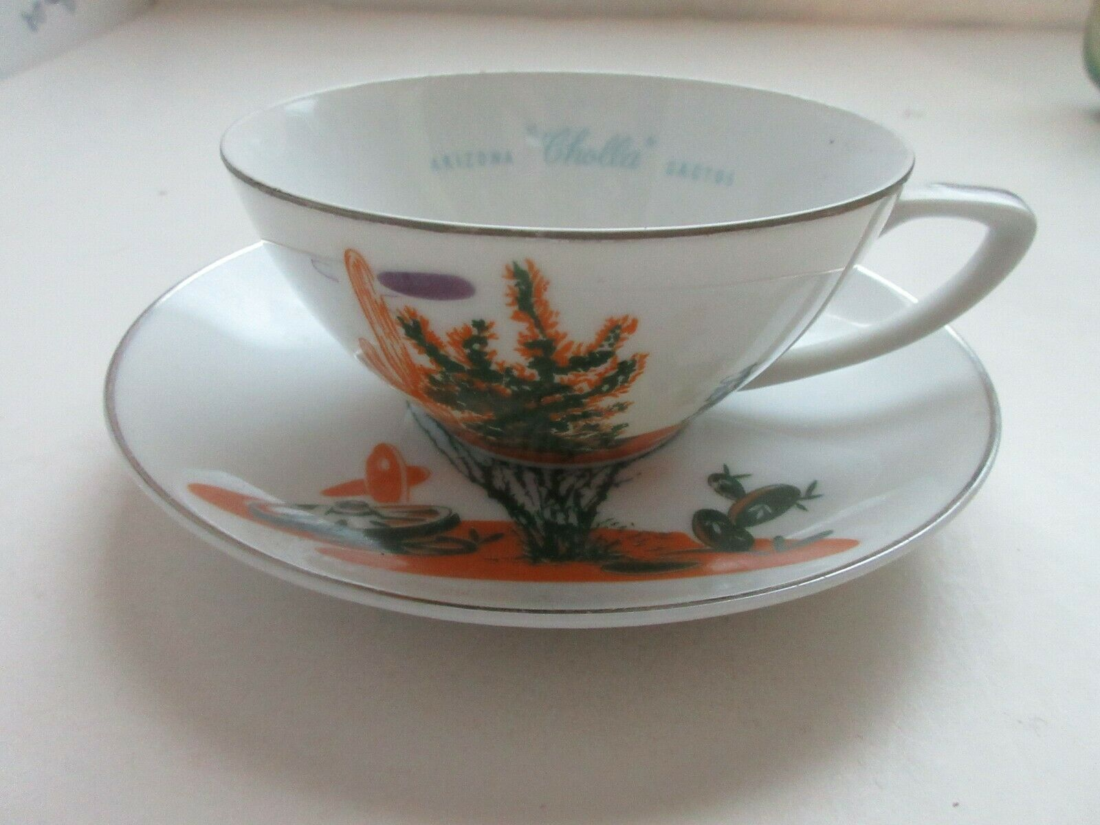 "Details about Vintage Blakely Fine China Arizona Cactus ""Ocotillo"" Cup & Saucer -Ex. Condition #arizonacactus Vintage Blakely Fine China Arizona Cactus ""Ocotillo"" Cup & Saucer -Ex. Condition 