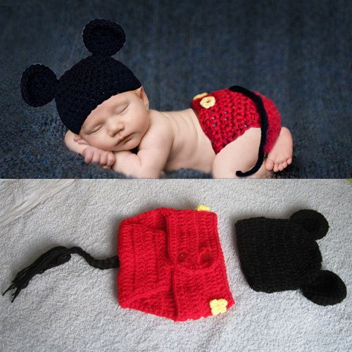 Newborn Baby Crochet Photo Prop Mickey Mouse Hat&Diaper Cover Set ...