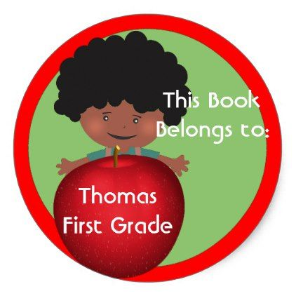 Little Boy With Red Apple Classic Round Stickers Boy Gifts