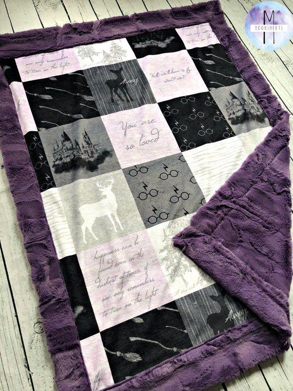 Lavender Harry Potter Minky Blanket Crib Blanket Baby