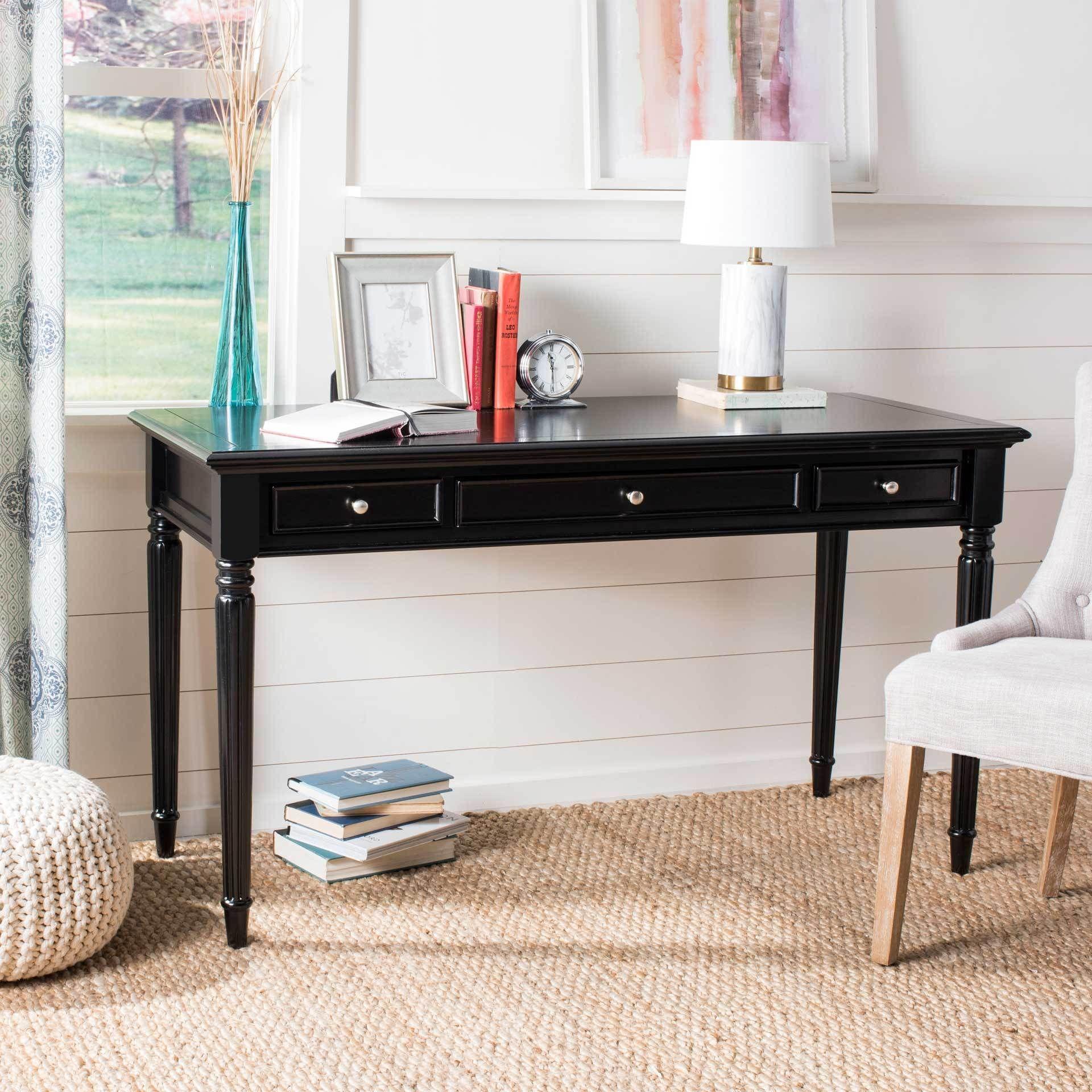 Cohen 3 Drawer Desk Black In 2021 Black Writing Desk Desk With Drawers Black Desk