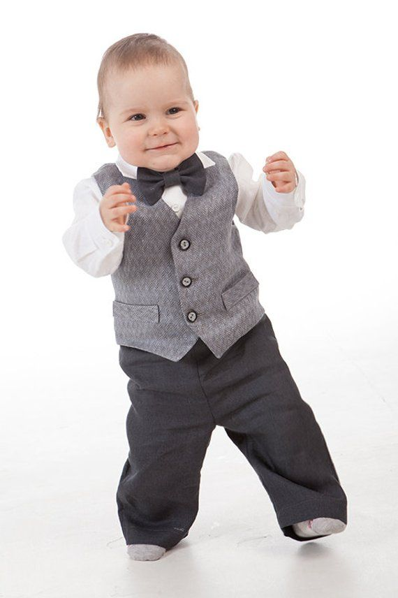 981ecaa5b Ring bearer outfits Baby boy linen outfits Baby boy gray suit Baby ...