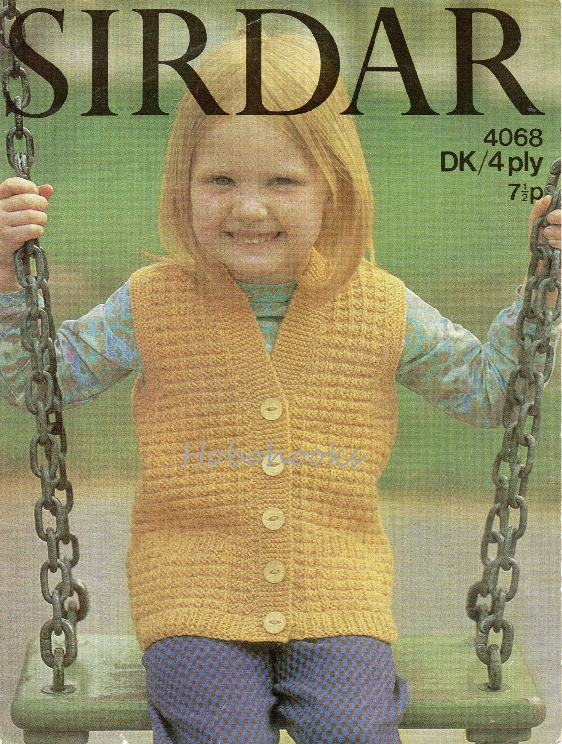 Double knitting pattern for child/'s cable sweater and slipover sizes 20-26 inch