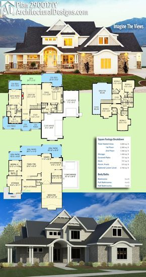 Architectural Designs House Plan 290017IY Gives You Over 3,800+ Square Feet  With 5+ Bedrooms