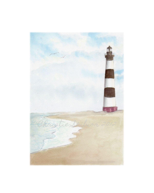 Watercolor painting Lighthouse Seascape Coastal Ocean Landscape via www.christiescibior.Etsy.com
