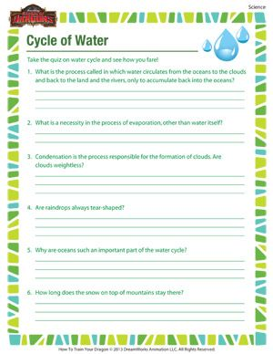cycle of water printable 4th grade science worksheet summer prep science worksheets. Black Bedroom Furniture Sets. Home Design Ideas