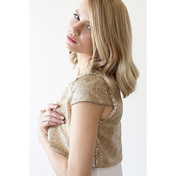 Blush Gold Sequin Bolero (€88) ❤ liked on Polyvore featuring outerwear, jackets, short sleeve bolero, brown jacket, gold sequin bolero, short sleeve bolero jacket and sequin jacket