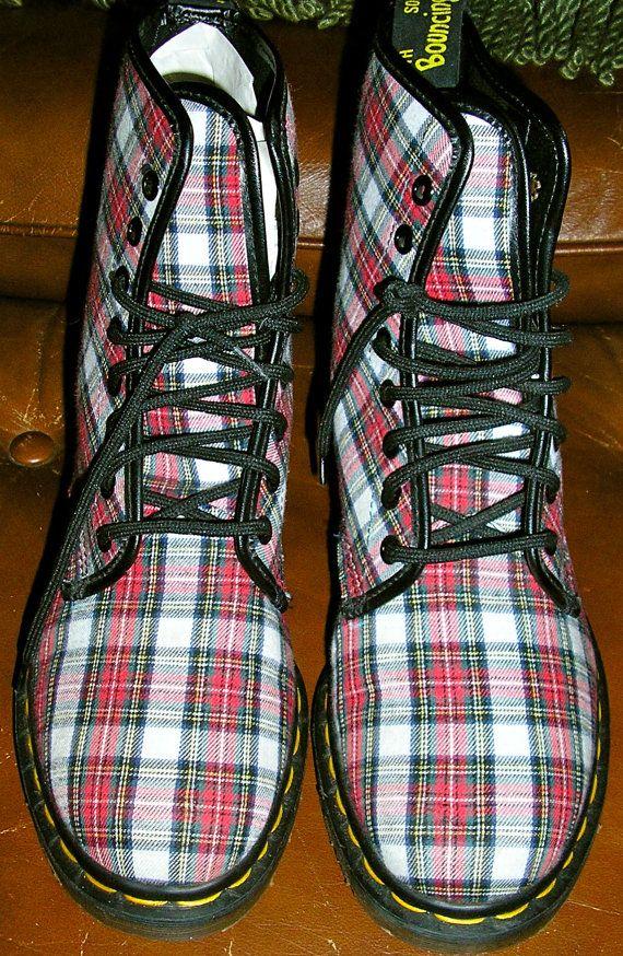 vtg Doc Marten plaid boots 80s Made in by ChloeandNatalieVtg,  169.00 093bde578384