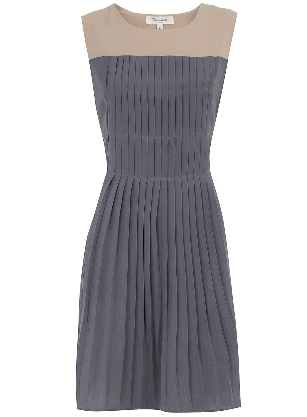 Grey pleat dressperfect with a navy or light grey suit coat