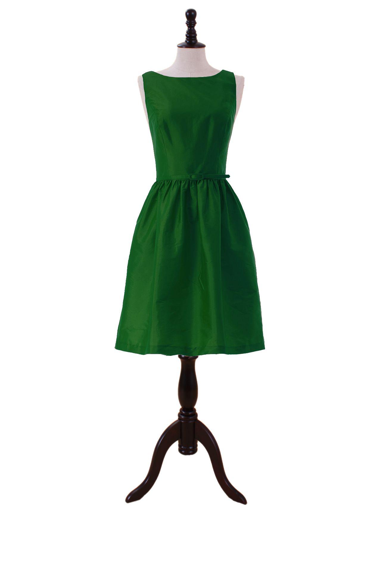 Taffeta bateau dress with skinny belt and full skirt clothes